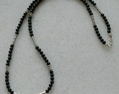 Black tourmaline necklace with Tibetan silver focal piece and accents for men and women
