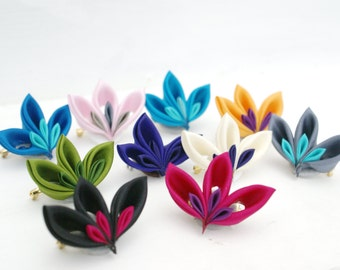 Folded Silk Brooch: Kanzashi Brooch - Jewellery - Fabric Brooch - Fibre Brooch - Cluster Brooch - Custom Colour Brooch - Gift for Women