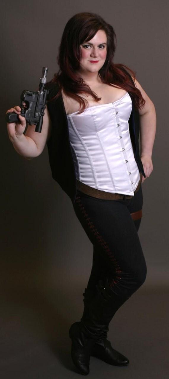 Women's Han Solo Costume- White Satin Steel Boned Corset with Corellian Bloodstriped Leggings, Vest, and Gun Holster Star Wars