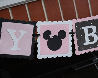 Minnie Mouse Happy Birthday Banner, Minnie Mouse Birthday, Minnie Mouse Decorations, Mickey Mouse,