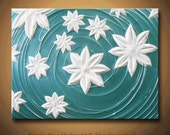 Painting Turquoise Blue Aqua White Water Flower Lotus Lily Flowers Abstract Acrylic - 18x24 High Quality Sculptural Modern Fine Art