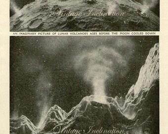 Vintage Astronomy print THE MOON Long Ago wall chart print 9 1/2 x 6 1/4