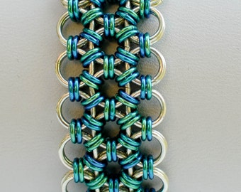 Sterling Silver and Ocean Blues and Greens Japanese Lace Micro-Maille Bracelet - Ready to Ship