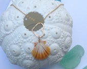 Sunrise Shell on 14 KT Gold Filled Necklace With Heart