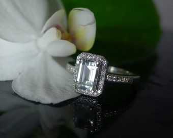 Emerald Cut Engagement Ring, Emerald Cut Ring, Sterling Silver Ring, Natural Gemstone Ring, Herkimer Diamond ring,Emerald Halo Ring