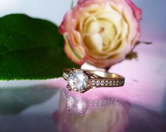Art Deco Rose Gold Ring, Art Deco Style Ring, 14k Rose gold Ring, Rose Gold Engagement Ring, Herkimer Diamond, Natural Diamond Accents