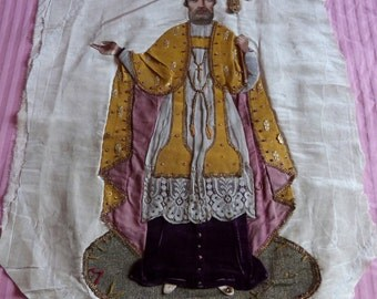 LARGE antique French religious banner hand embroidered saint processional banner gold thread sequins lace, hand painted 1800s church fabric