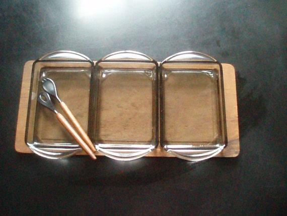 Teak Wood tray - 3 smoked glass pans - Mid Century - Scandinavian Design