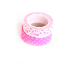 Japanese Washi Tape Two Rolls Set Hot Pink Bright Neon and White Polka Dots Bubbles Pattern Rice Paper Tape