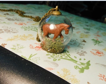 Clydesdale Horse Terrarium Necklace