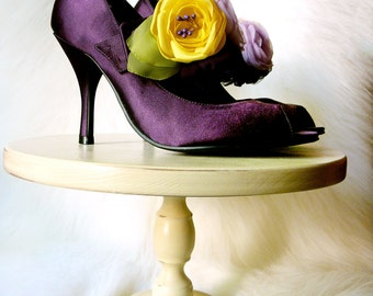 Purple and Yellow Wedding Shoe Clips, Purple, Lilac  and Yellow Bridal shoe Clips