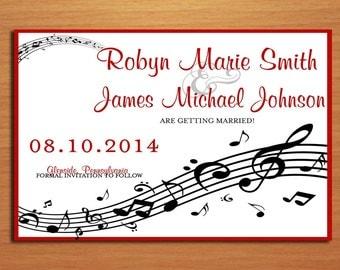 Music Staff Wedding Save the Date PRINTABLE / DIY