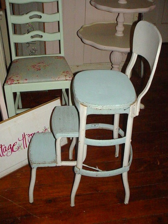 Vintage Cosco Metal Step Ladder Step Stool Chair Cottage