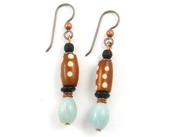 Polka Dot Earrings, Brown Earrings, Caramel Aqua Copper Spotted Tribal Dangle Earrings