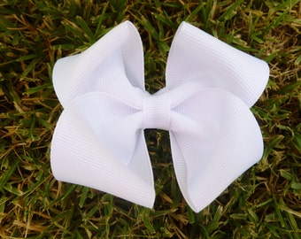 All white hair bow--3.5 inch boutique hair bow--perfect for flower girls baby shower gift or special occasions