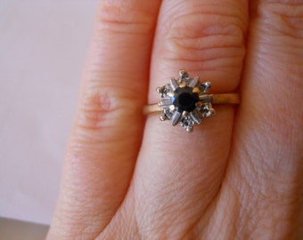 Old English Hallmarked Yellow Gold Ring with Diamonds and Blue Sapphire Size 5
