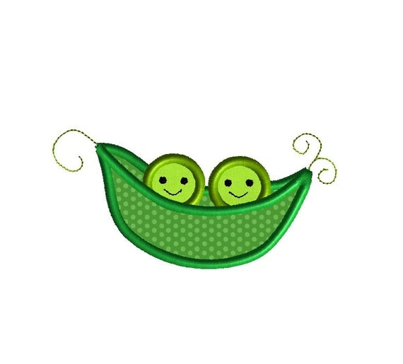 Two Peas In A Pod Applique Machine Embroidery Design Instant