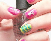 NAILED IT DECALS: 1 Sheet of 24 Bounching Bunnies Nail Decals (You Pick the Color)