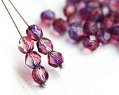 30pc Fire polished 6mm beads - Violet Purple coating - czech glass, round faceted spacers - 1820