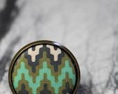 Chevron Fabric Button Ring Nautical Olive and Aqua Adjustable