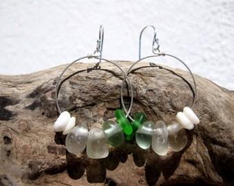 Hawaiian Emerald Green, Aqua Blue, & Clear Beach Glass with Puka Shells on 925 Sterling Silver Circular Wire Small Circular Hoop Earrings
