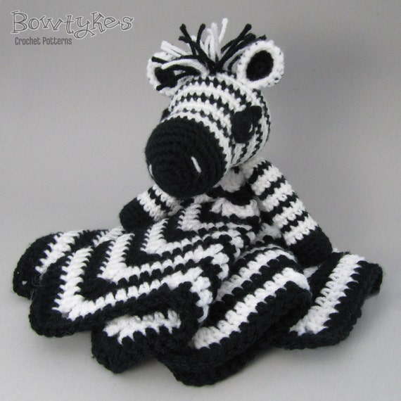 Free Crochet Zebra Patterns : Zany Zebra Lovey - CROCHET PATTERN instant download - blankey, blankie ...