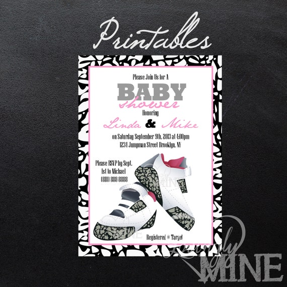 printable jordan jumpman inspired baby shower invitations personal