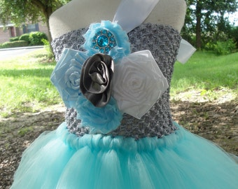 blue and silver flower girl tutu dress