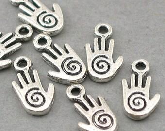 Hamsa Swirl Hand Charms Antique Silver 10pcs base metal beads 8X15mm CM0565S