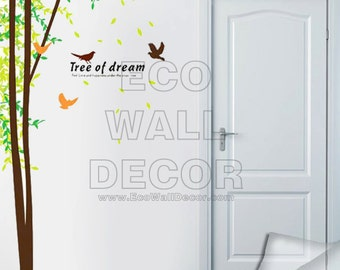 PEEL and STICK Removable Vinyl Wall Sticker Mural Decal Art - Super Size Tree of Dreams Branch and Flying Birds (2 Pages)