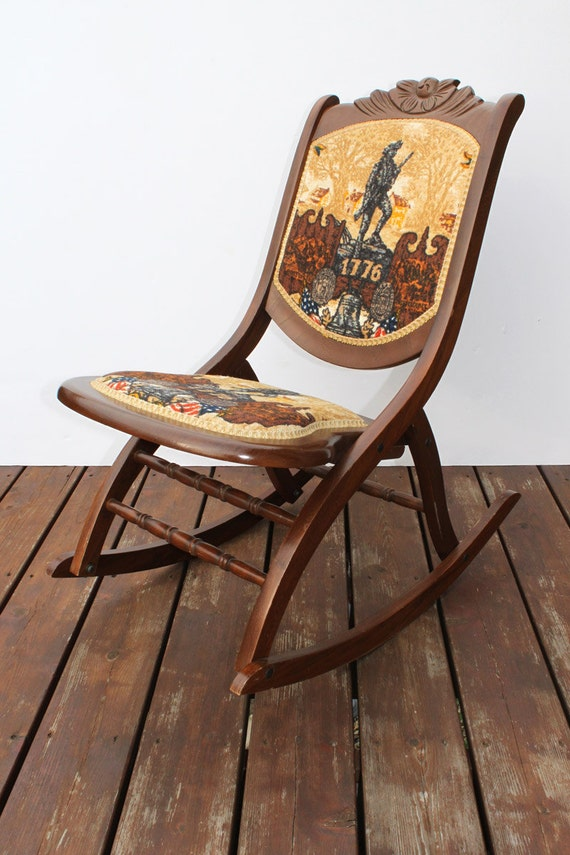 vintage wood rocking chair bicentennial celebration wooden folding