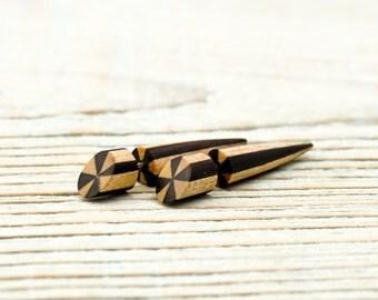 Spike Fake Gauges Earrings Wooden Earrings Tribal Brown Wood Organic - FG072  2W G2