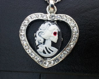 Gothic Lolita Skull Heart Pendant on a Silver Tone Necklace Gothic Steampunk Emo Punk