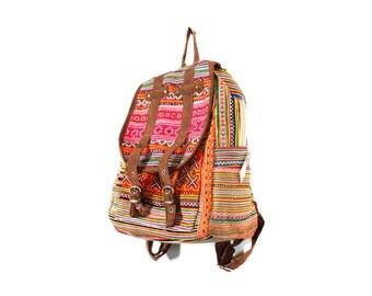 Orange Ethnic Backpack Book Bag Handmade HMONG Vintage Fabric Fair Trade Thailand (BG510S)