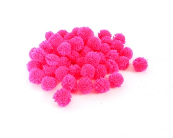 Pink Color Pom Pom Ball Supply DIY Cotton Handmade Hill Tribe Thailand  (ACC204-PI)
