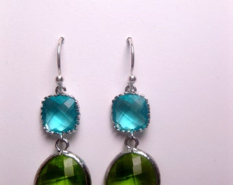 Green Earrings - Turquoise Earrings - Green And Blue - Green And Silver - Glass - Drop - Aqua - Apple Green - Peridot - Lime Green