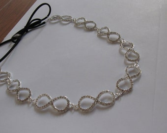 Silver Metal Crystal Infinity Elastic Headband, for Bridal, weddings, parties, evening, special occasions