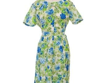 Vintage 1950s Dress /  Vintage 50s Green Plus Size Dress / 1950s Green and Blue  Dress