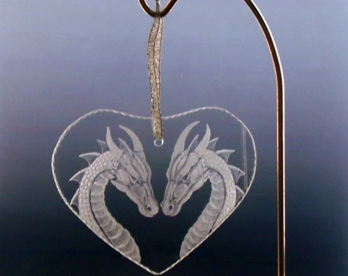 tree ornament  christmas Dragon couple ornamen personalizied  heart shaped glass engraved ornament    dragon ornament fantasy ooak