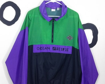 80s / 90s Ocean Pacific Green Purple and Black Logo Windbreaker Size Large Checker Print Detail