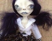 Handmade Art Doll OOAK Navy Blue School Girl Tiqua