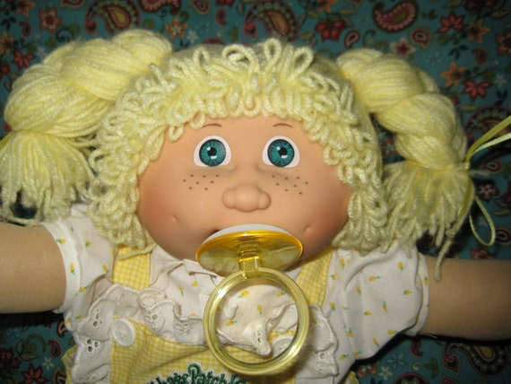 RESERVED -- Vintage Jesmar Cabbage Patch Doll -- Lemon Hair, Freckles, Paci Face