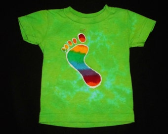 Rainbow Footprint Batik Dyed Green 6 Month Shirt #225