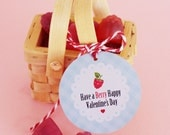 "VALENTINES DAY Gift Tag - ""Have a Berry Happy Valentine's Day"". DIY Printable File."
