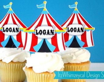 Personalized Circus Carnival Tent Die Cut Cupcake Topper (One Dozen)