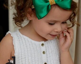 Green satin Bow , Christmas headband ,emerald headband ,christmas green bow