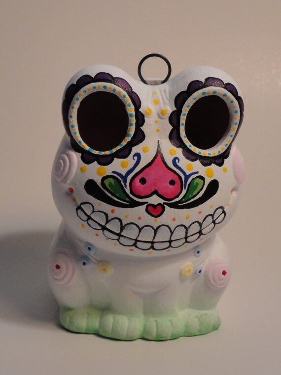 Hanging Day Of The Dead Sugar Skull Frog Lantern
