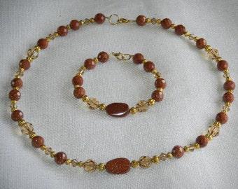 Brown Goldstone and Light Colorado Topaz Necklace & Bracelet SWAROVSKI Crystal Classic Style Beautiful Gift Set