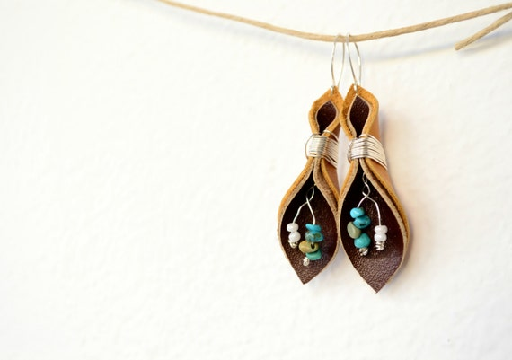 leather earrings-turquoise-tulips-boho hippie