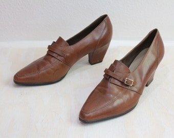Vintage 80's Leather Buckle Loafers Heels Sz 8